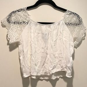 Forever 21 Cropped Lace Sleeve Blouse
